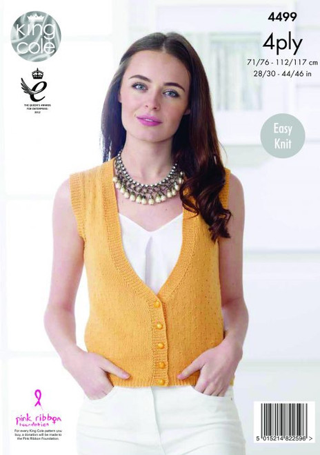 "4499 Ladies & Teens Cardigan & Waistcoat 4 Ply Knitting Pattern Size: 28/30"" - 44/46"""