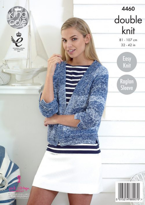 4460 Ladies & Teens Cardigan DK Knitting Pattern Size: 32-42""
