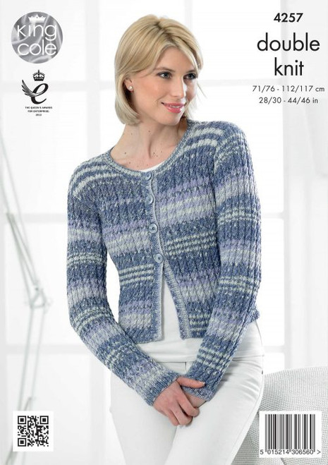 "4257 Ladies & Teens Cardigan/Jacket & Pullover Jumper DK Knitting Pattern Size: 28/30"" - 44/46"""