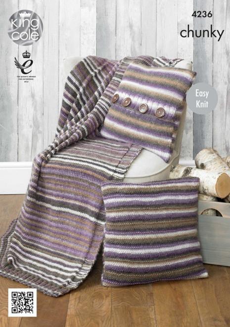 4236 Homeware Cushions & Throw Chunky Knitting Pattern