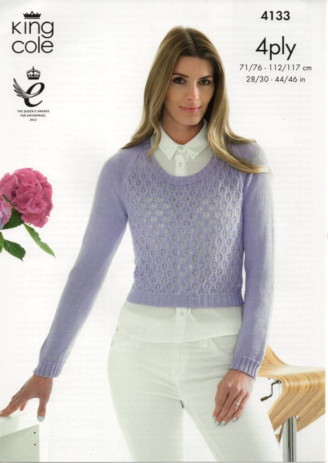 "4133 Ladies & Teens Cardigan 4 Ply Knitting Pattern Size: 28/30"" - 44/46"""