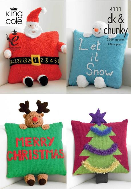 4111 Homeware Christmas Cushion DK & Chunky Knitting Pattern