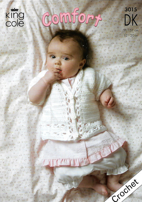 "3015 Baby Cardigan/Jacket & Pullover Jumper DK Crochet Pattern Size: 12-30"""