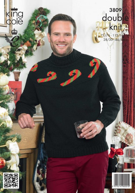 "3809 Mens & Ladies Christmas Jumper DK Knitting Pattern Size: 28/30"" - 44/46"""