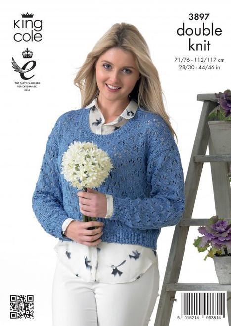 "3897 Ladies & Teens Cardigan/Jacket & Pullover Jumper Cotton DK Knitting Pattern Size: 28/30"" - 44/46"""