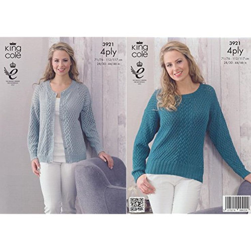 "3921 Ladies & Teens Cardigan/Jacket & Pullover Jumper 4 Ply Knitting Pattern Size: 28/30"" - 44/46"""