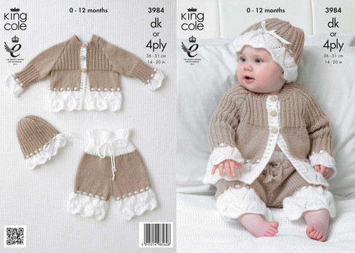 3984 Baby Cardigan, Hat & Trousers DK Knitting Pattern Size: 14-20""