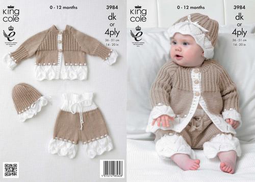 "3984 Baby Cardigan, Hat & Trousers DK Knitting Pattern Size: 14-20"""