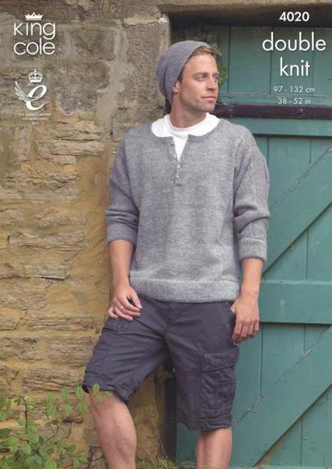 "4020 Mens & Teens Cardigan DK Knitting Pattern Size: 38-52"""