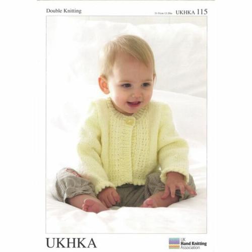 "115 Baby Cardigan DK Knitting Pattern Size: 12-20"""