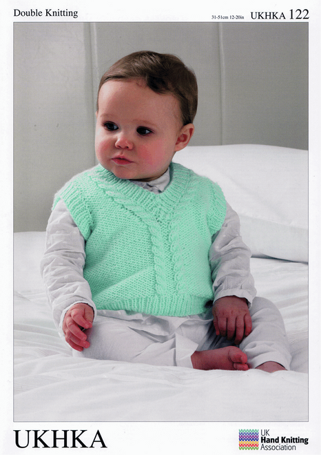 "122 Baby Slip Over Waistcoat DK Knitting Pattern Size: 12-20"""