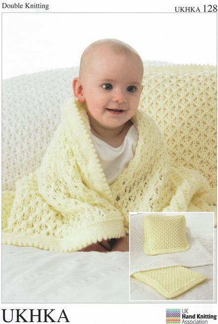 128 Baby Cushion & Blanket DK Knitting Pattern