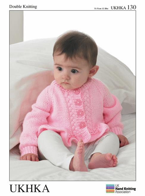 "130 Baby Cardigan DK Knitting Pattern Size: 12-20"""
