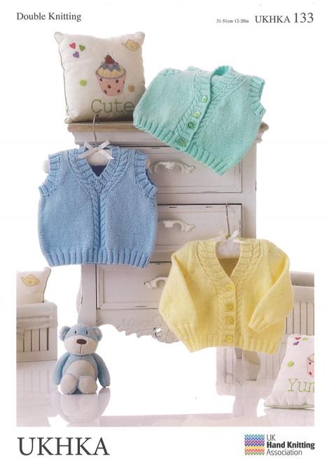 "133 Baby Slip Over Waistcoat DK Knitting Pattern Size: 12-20"""