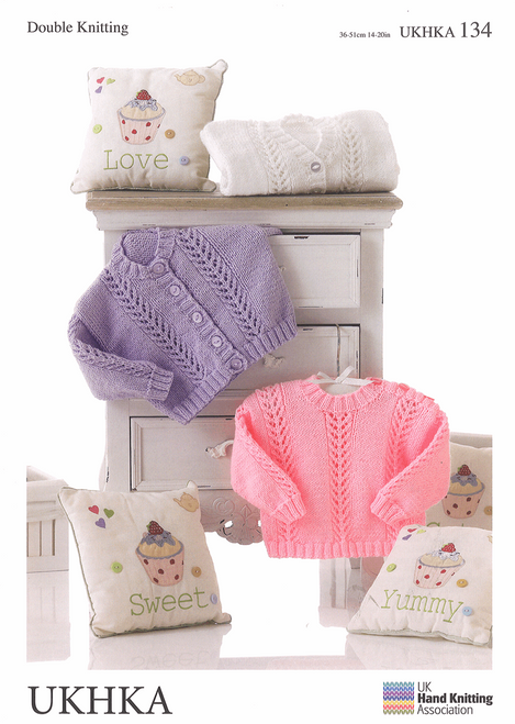 "134 Baby Cardigan DK Knitting Pattern Size: 12-20"""