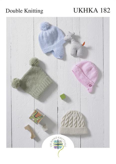 182 Baby Hat DK Knitting Pattern