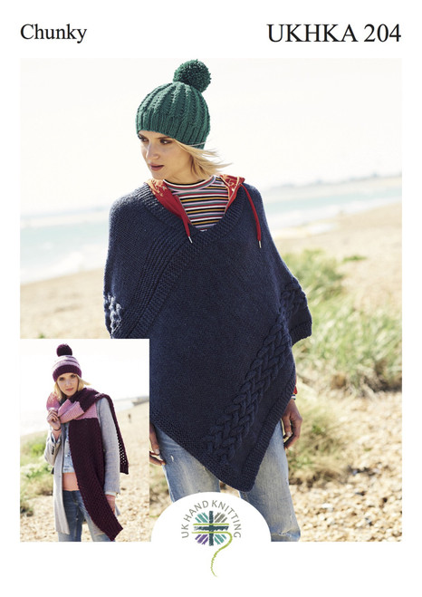 204 Ladies & Teens Poncho & Hat Chunky Knitting Pattern
