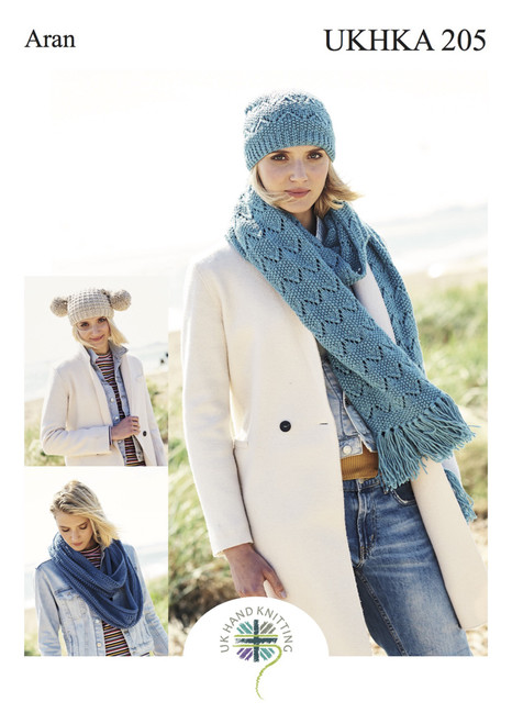 205 Ladies & Teens Hat & Scarf Aran Knitting Pattern