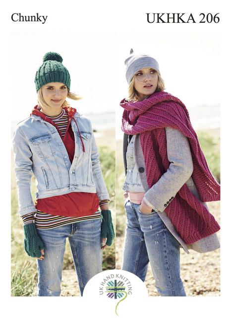206 Ladies & Teens Hat & Scarf Chunky Knitting Pattern
