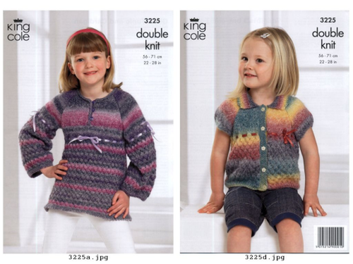 "3225 Childrens Cardigan/Jacket & Pullover Jumper DK Knitting Pattern Size: 22-28"""