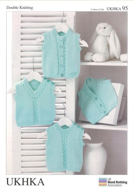 "95 Baby Slip Over Waistcoat DK Knitting Pattern Size: 12-22"""