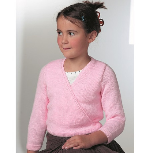 8044 Childrens Ballet Cross-Over Cardigan Wondersoft DK Knitting Pattern Size: 20 - 30cm