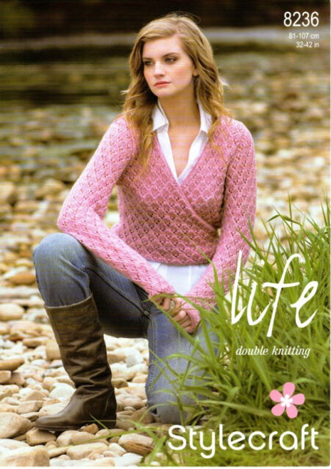 8236 Ladies & Teens Cardigan Life DK Knitting Pattern Size: 32-42""