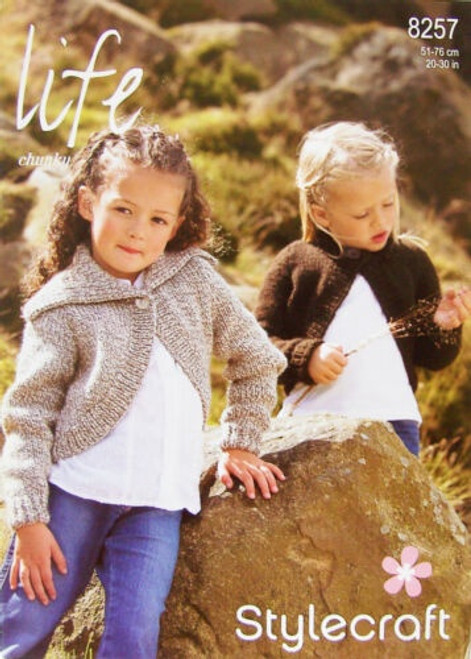 8257 Childrens Pullover Jumper Life Chunky Knitting Pattern Size: 20-30""