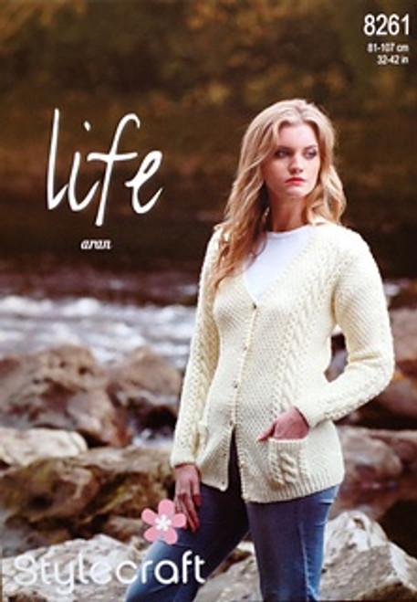 "8261 Ladies & Teens Pullover Jumper Life Aran Knitting Pattern Size: 32-42"""