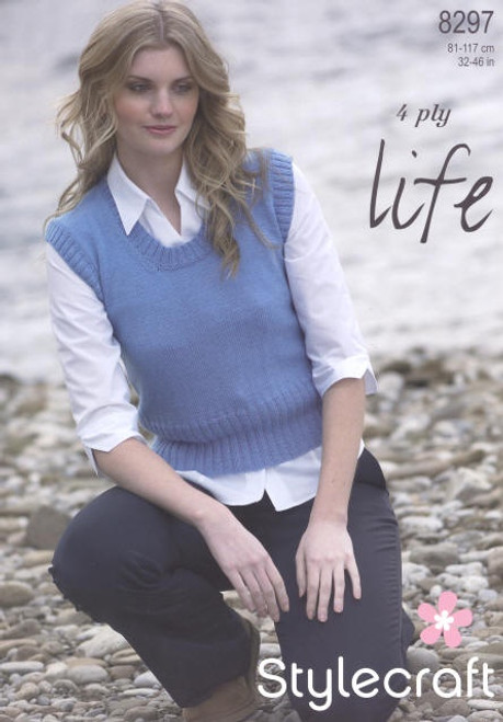 8297 Ladies & Teens Pullover Jumper Life 4 Ply Knitting Pattern Size: 32-46""
