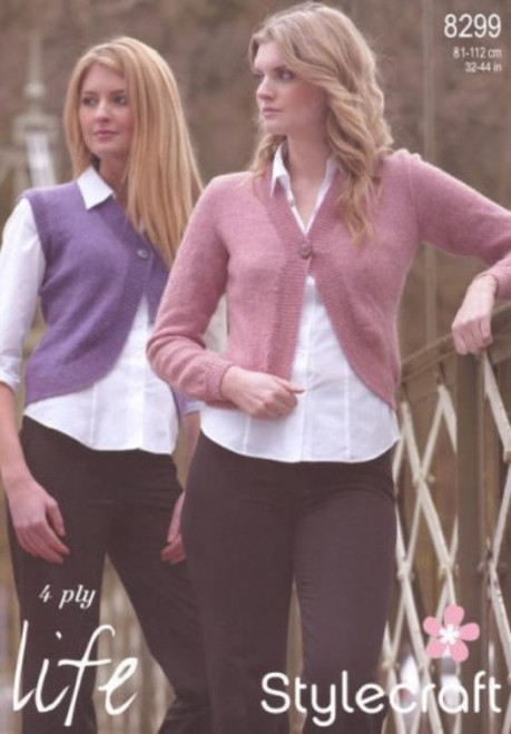 8299 Ladies & Teens Cardigan Life 4 Ply Knitting Pattern Size: 32-44""