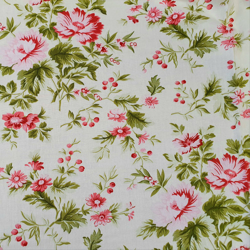 "95cm Remnant Pirouette ""Opal"" Subtle Blooms Cotton Fabric, 112cm/44in wide, Sold as Cut Remnant"