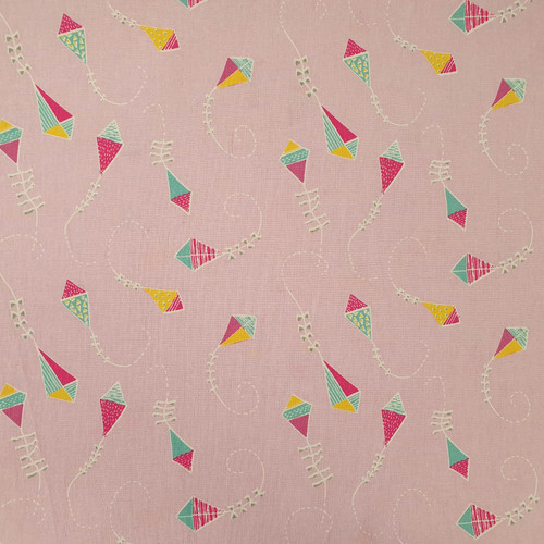 Let's Go Fly a Kite on Powder Pink Cotton Fabric, 112cm/44in wide, Sold Per HALF Metre