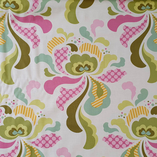 "Freshcut ""Olive"" Groovy Floral Cotton Fabric, 112cm/44in wide, Sold Per HALF Metre"