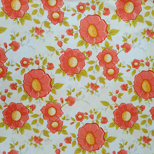 """Red """"Daydream"""" Floral on Cream Cotton Fabric, 112cm/44in wide, Sold Per HALF Metre"""