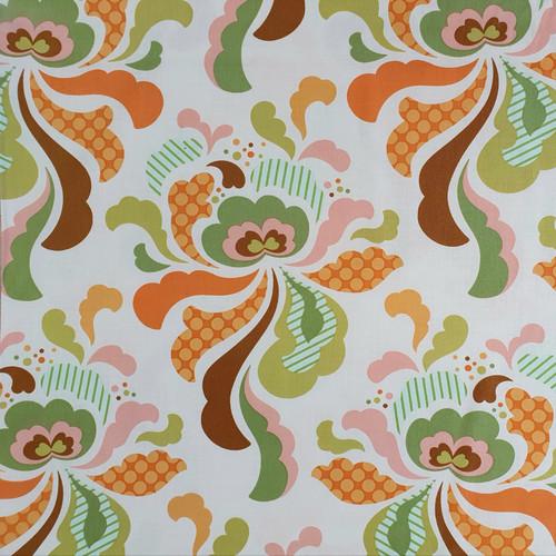 "Freshcut ""Orange"" Groovy Floral Cotton Fabric, 112cm/44in wide, Sold Per HALF Metre"
