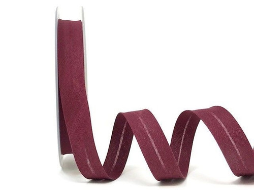 Burgundy Polycotton Bias Binding, 18mm wide, Sold Per Metre