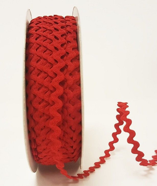 Red 7mm Ric Rac Trim, Sold Per Metre
