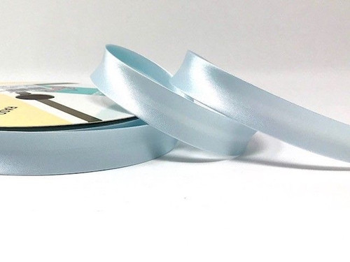 Ice Blue Satin Bias Binding, 18mm wide, Sold Per Metre
