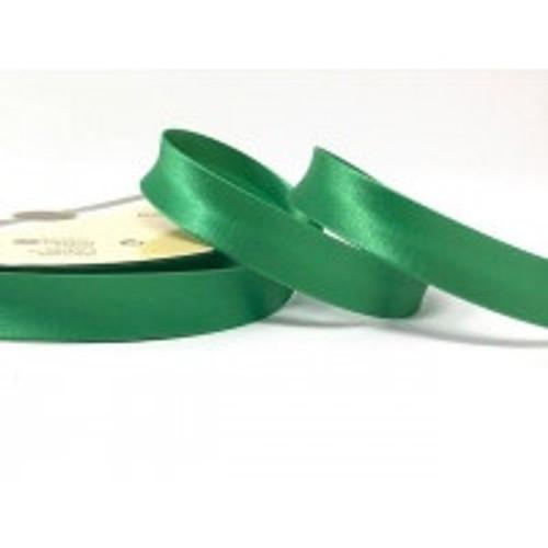 Emerald Green Satin Bias Binding, 18mm wide, Sold Per Metre