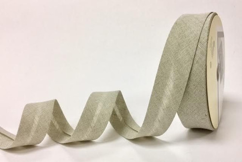 Oatmeal Linen Bias Binding, 30mm wide, Sold Per Metre