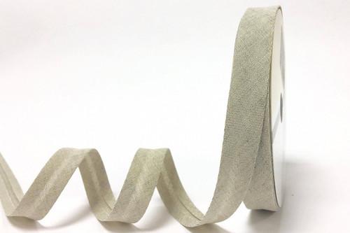 Oatmeal Linen Bias Binding, 18mm wide, Sold Per Metre