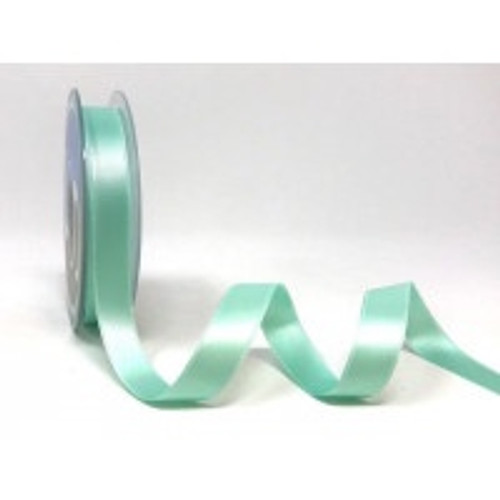 Aqua Satin Ribbon, 15mm wide, Sold Per Metre