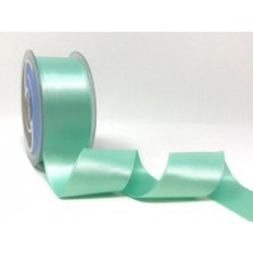 Aqua Satin Ribbon, 38mm wide, Sold Per Metre