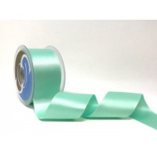 Aqua Satin Ribbon, 50mm wide, Sold Per Metre