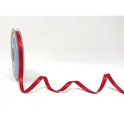 Red Satin Ribbon, 6.5mm wide, Sold Per Metre