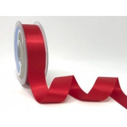 Red Satin Ribbon, 25mm wide, Sold Per Metre