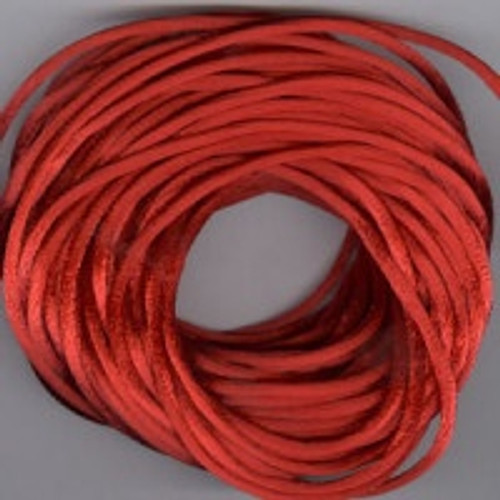 Red Rats Tail Satin Cord, 2.5mm thick, Sold Per Metre