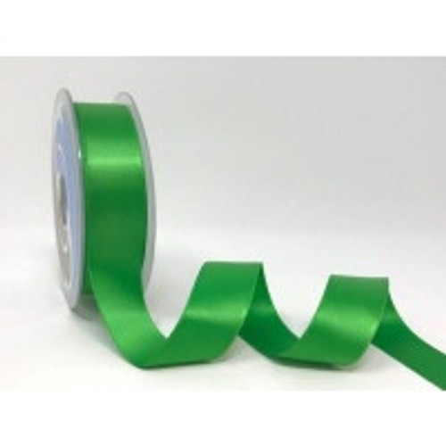 Grass Green Satin Ribbon, 25mm wide, Sold Per Metre
