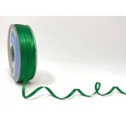 Emerald Green Satin Ribbon, 3mm wide, Sold Per Metre